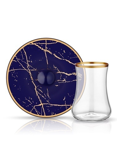 Koleksiyon Çay Seti 6'Lı Mermer Kobalt Altın